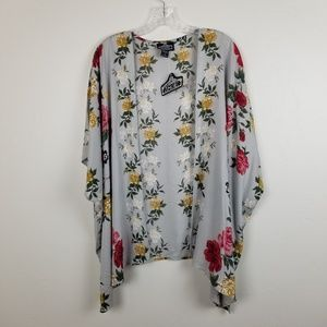 ANGIE - grey floral/roses kimono coverup